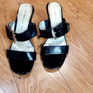 Anne Klein patent leather block heel strap sandal